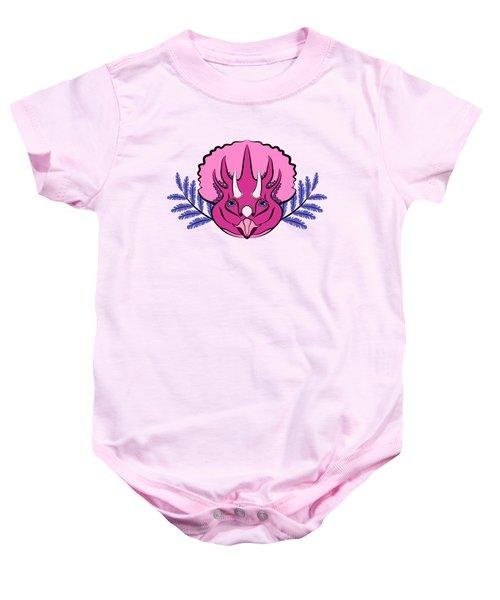 Pretty Pink Triceratops Baby Onesie