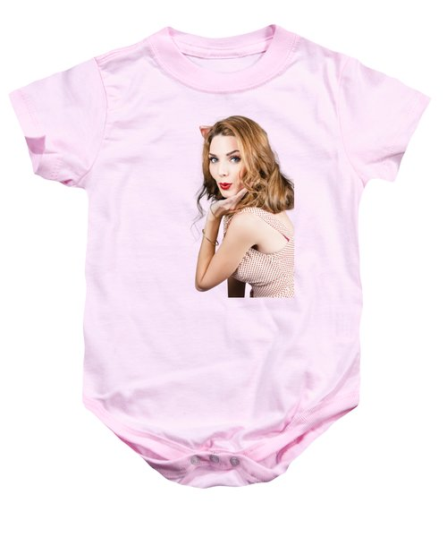 Quirky Portrait Of A Posing 50s Girl In Pinup Style Baby Onesie