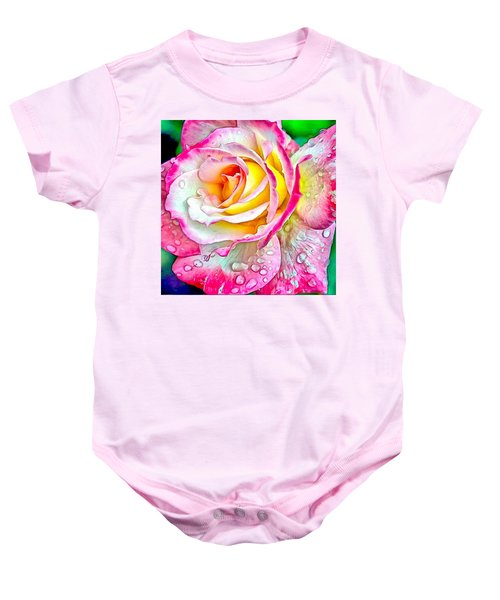 Baby Onesie featuring the digital art Radiant Rose Of Peace by Charmaine Zoe