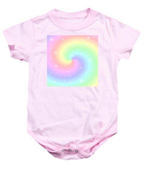 Rainbow Swirl With Stars Baby Onesie