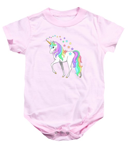 Rainbow Unicorn Clouds And Stars Baby Onesie
