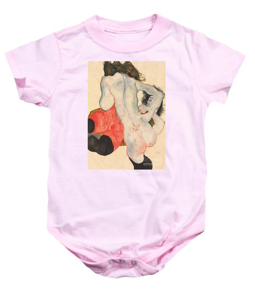 Reclining Woman In Red Trousers And Standing Female Nude Baby Onesie