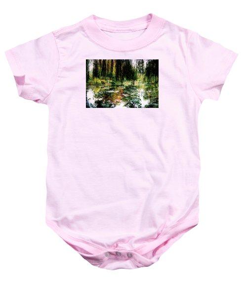Reflection On Oscar - Claude Monet's Garden Pond Baby Onesie