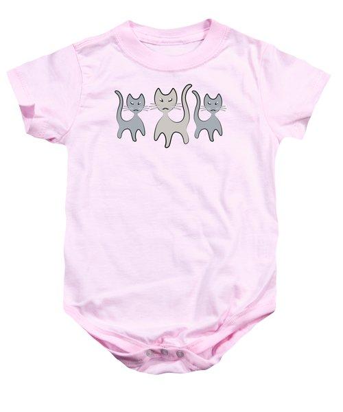Retro Cat Graphic In Grays Baby Onesie