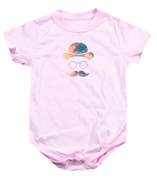 Retro Face With Moustache And Glasses  Universe  Galaxy Hipster In Gold Baby Onesie
