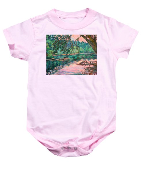 Baby Onesie featuring the painting Riverview At Dusk by Kendall Kessler