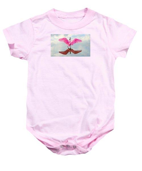 Roseate Spoonbill Pink Angel Baby Onesie