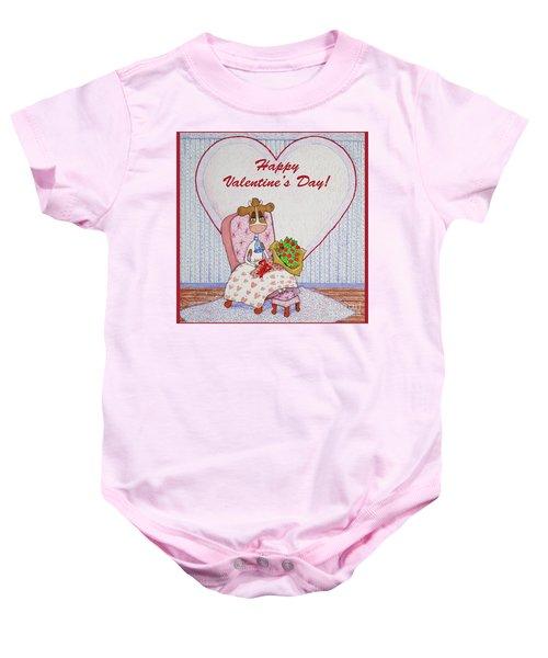Ruthie-moo Flowers Happy Valentine's Day Baby Onesie