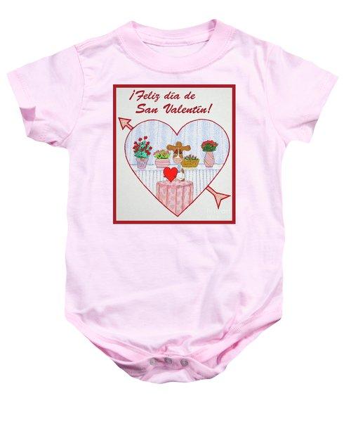 Ruthiemoo Heart Flores Feliz Dia De San Valentin Baby Onesie
