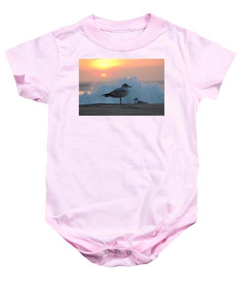 Seagull Seascape Sunrise Baby Onesie