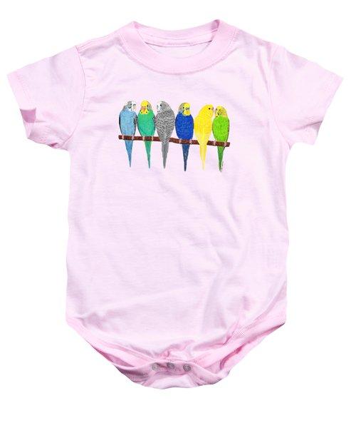 Six Parakeets Baby Onesie