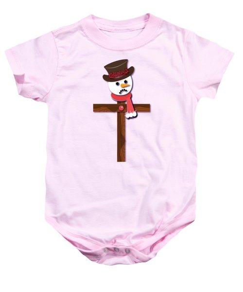Snowman Christian Cross Baby Onesie by Reggie Hart