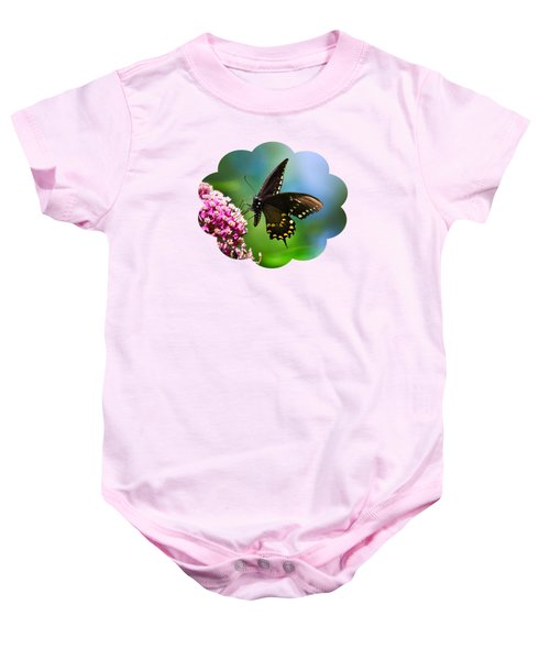 Spicebush Swallowtail Butterfly On Pink Flower Baby Onesie by Christina Rollo