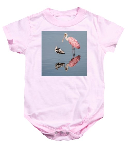 Spoonbill, American Avocet, And Reflection Baby Onesie