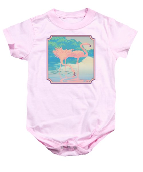 Square Format - Pink Flamingos Retro Pop Art Nouveau Tropical Bird 80s 1980s Florida Painting Print Baby Onesie by Walt Curlee