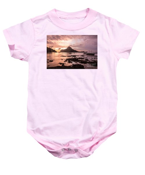 Sunset Over El Nido Bay In Palawan In The Philippines Baby Onesie