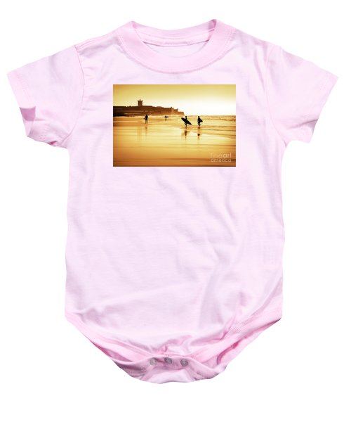 Surfers Silhouettes Baby Onesie