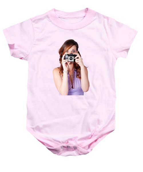 Surprised Woman Taking Picture With Old Camera Baby Onesie