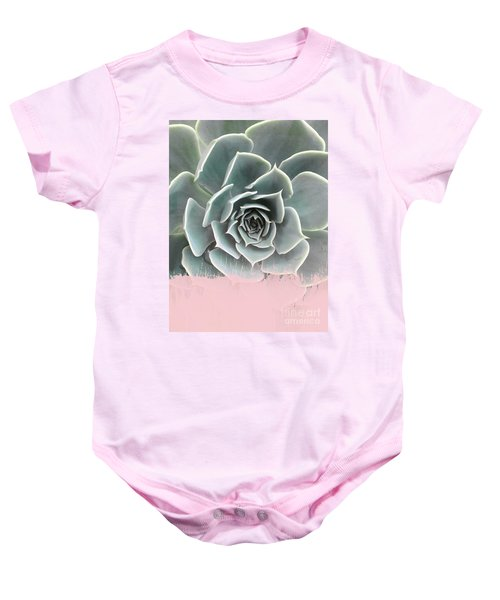 Sweet Pink Paint On Succulent Baby Onesie