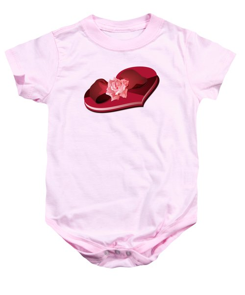 Sweetheart Candy Box With Pink Rose Baby Onesie