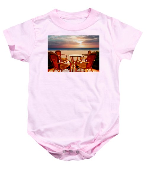 Table For Four At The Beach At Sunset Baby Onesie