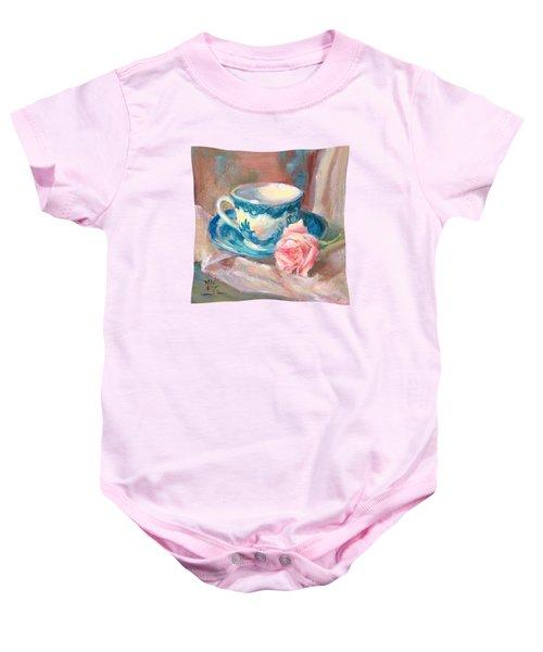 Teacup With Rose Baby Onesie