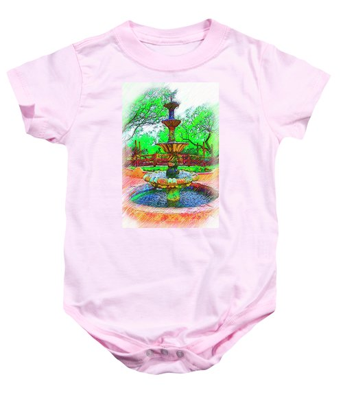 The Spanish Courtyard Fountain Baby Onesie