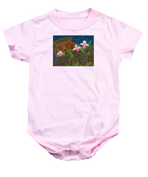 Baby Onesie featuring the painting Turtle - Mihkinahk by Chholing Taha