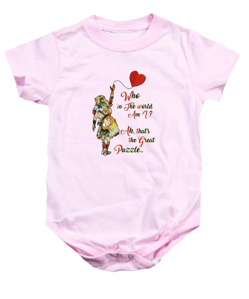 Vintage Alice In Wonderland Collage Who In The World Am I Quote Baby Onesie