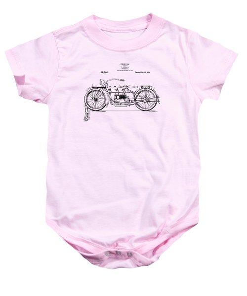Vintage Harley-davidson Motorcycle 1919 Patent Artwork Baby Onesie