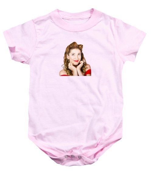 Vintage Makeup Photo Of Cute Smiling Blonde Girl Baby Onesie