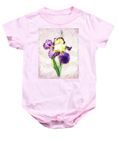 Vintage Purple Watercolor Iris Baby Onesie