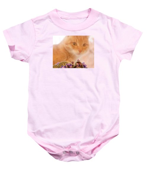 Violets With Cat Baby Onesie