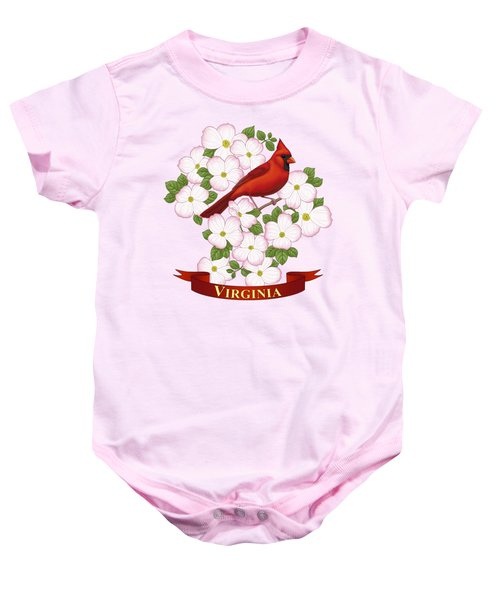 Virginia State Bird Cardinal And Flowering Dogwood Baby Onesie by Crista Forest