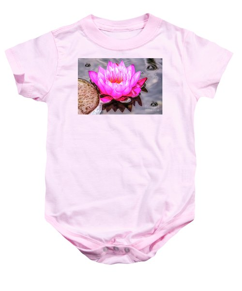Water Lily In The Rain Baby Onesie