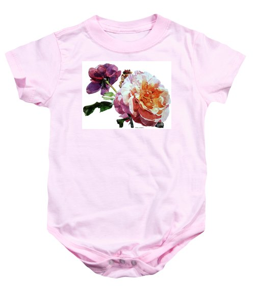 Watercolor Of Two Roses In Pink And Violet On One Stem That  I Dedicate To Jacques Brel Baby Onesie