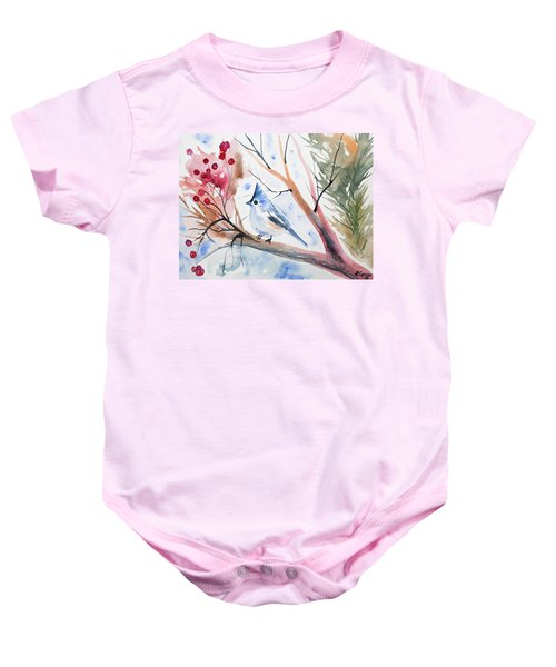 Watercolor - Tufted Titmouse With Winter Berries Baby Onesie