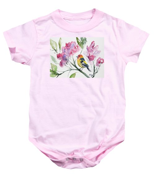 Watercolor - Western Tanager In A Flowering Tree Baby Onesie