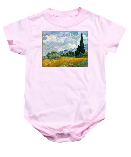 Baby Onesie featuring the painting Wheatfield With Cypresses by Van Gogh