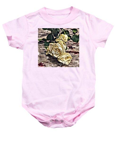 White Baby Roses Baby Onesie