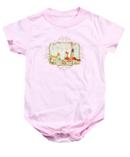 Woodland Fairytale - Banner Sweet Little Baby Baby Onesie by Audrey Jeanne Roberts