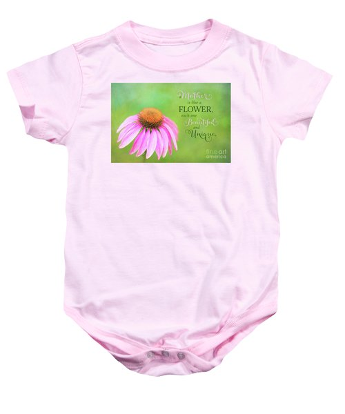 A Mother Is Lke A Flower Baby Onesie