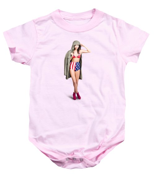 American Army Pinup Girl. Stars And Stripes Salute Baby Onesie