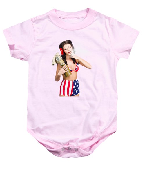 American Military Pin Up Girl Holding Gasmask  Baby Onesie