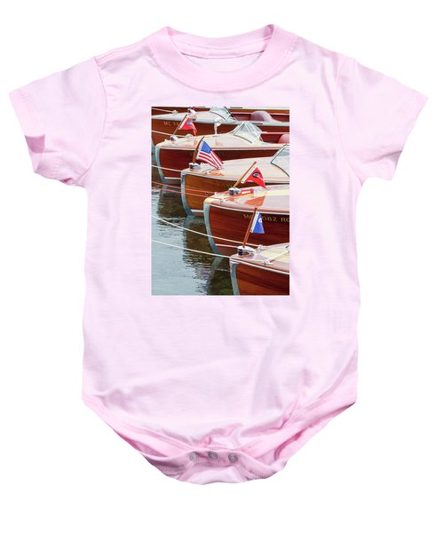 Antique Wooden Boats In A Row Portrait 1301 Baby Onesie