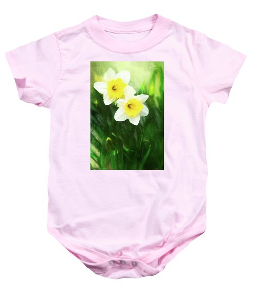 Lovely Painted Daffodil Pair Baby Onesie