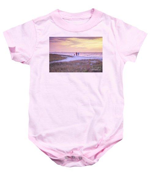Sunrise Stroll On The Beach Baby Onesie