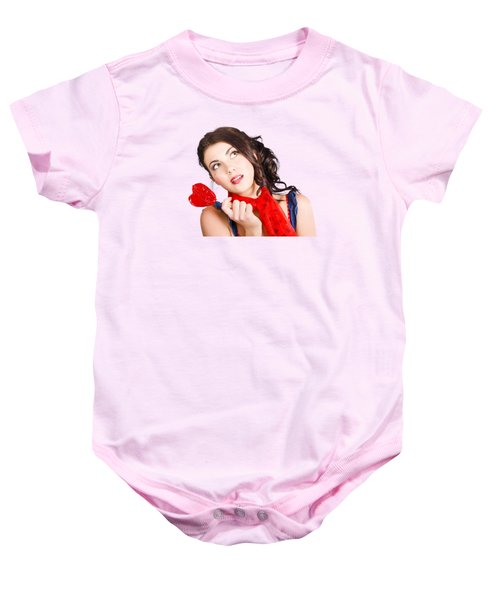 Beautiful Pinup Girl Holding Candy. Sweet Heart Baby Onesie