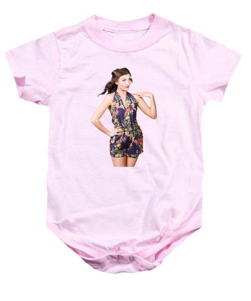 Beautiful Retro Model In Sleeveless Retro Fashion Baby Onesie