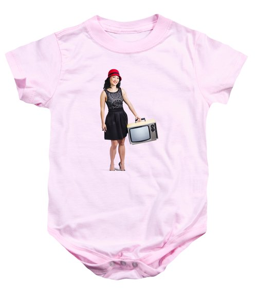 Baby Onesie featuring the photograph Beautiful Woman With Television by Jorgo Photography - Wall Art Gallery